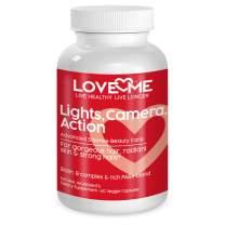 Love Me Nutrition® - Lights, Camera, Action - Hair Skin Nails Formula Men & Woman- B1 B6 B5 B12- Biotin Promotes Hair Growth, Glowing Skin, Strong Nails. Natural No Artificial Ingredients 60 Vegi Caps