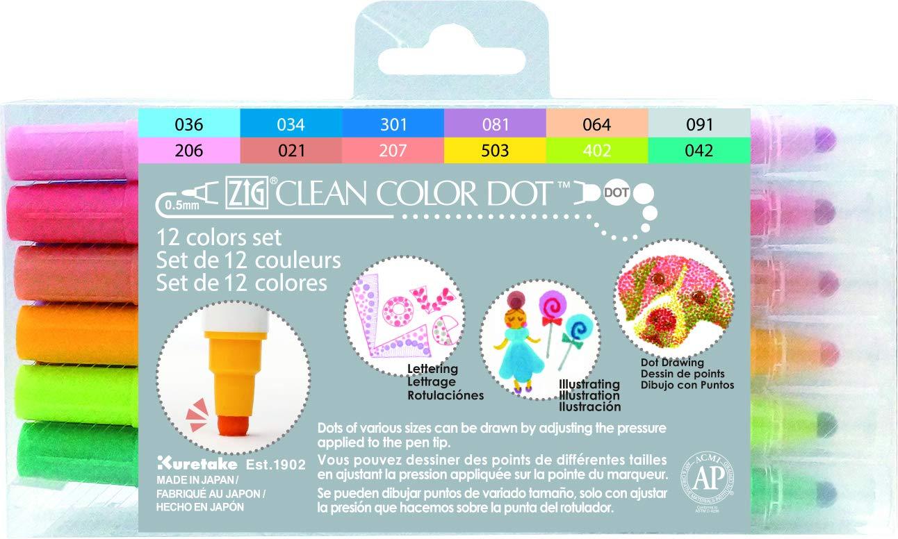 Kuretake Zig Clean Dot Pens Water based Marker, 12 Colors set Count