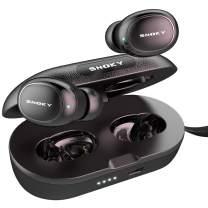 Wireless Earbuds, Snoky N8 Bluetooth 5.0 Earbuds Deep Bass IPX7 Waterproof Binaural Calls in-Ear Headphones Earphones True Wireless Earbuds with Charging Case Built in Dual Mic for Sports Gym Black