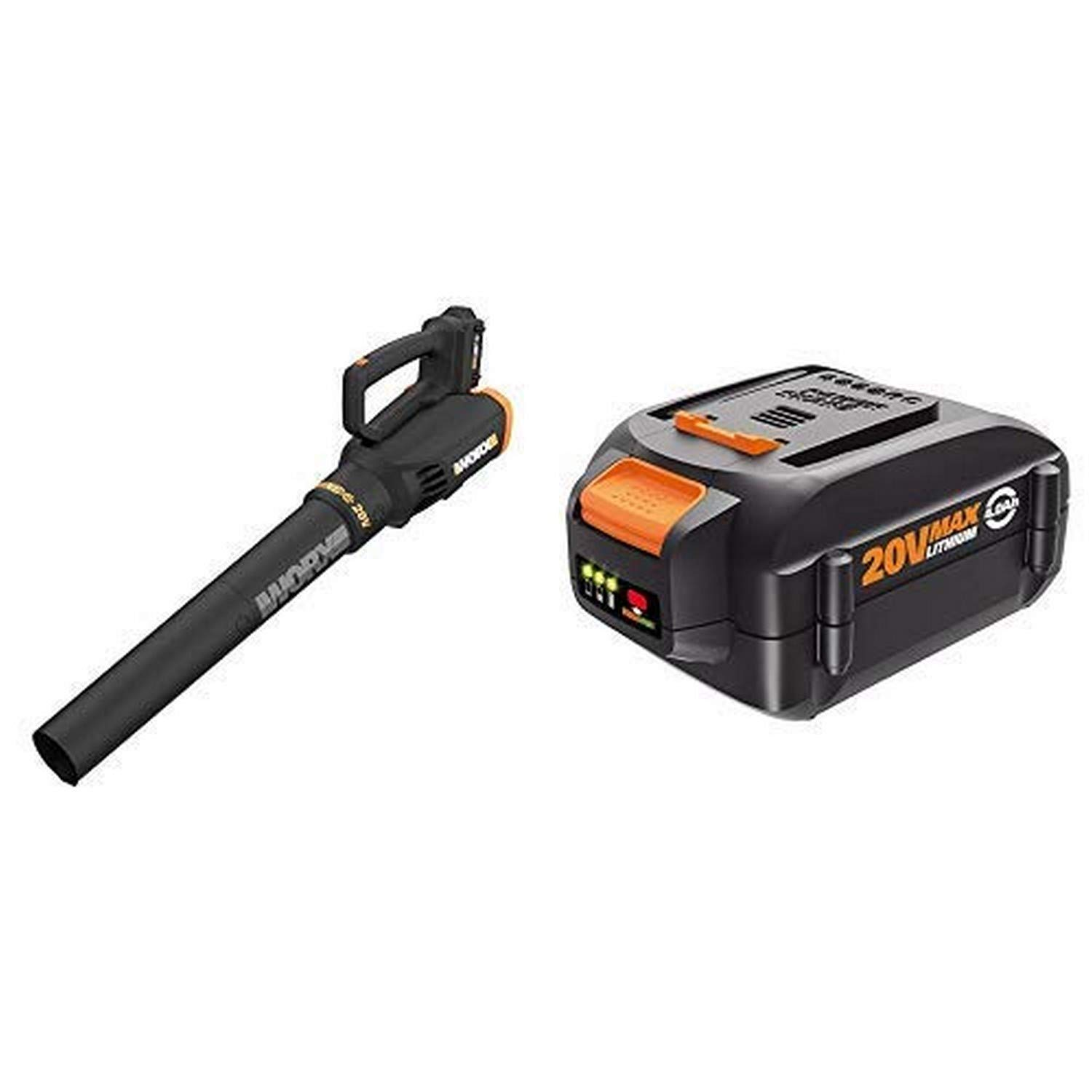 WORX WG547 20V (2.0Ah) Power Share Cordless Turbine Blower, 2-Speed, Battery and Charger Included with WA3578 20V 4.0Ah