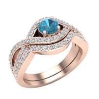 1.10 ct tw Blue & White Diamond Prong setting Intertwined Bridal Ring Set 14K Gold