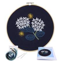 Full Range of Embroidery Starter Kit with Pattern, Kissbuty Cross Stitch Kit Including Embroidery Cloth with Floral Pattern, Bamboo Embroidery Hoop, Color Threads and Tools Kit (Hydrangea)