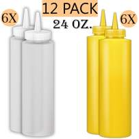 Squeeze Bottle Kit - Includes 24 oz. Squeeze Bottles for Sauces In Yellow and Clear 6 of Each Color, Multi use - Sauce Bottles, Squirt Bottles, Condiment Bottle, 12 Pack.