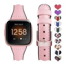 Supoix Bands Compatible with Fitbit Versa/Versa 2/Versa Lite, Genuine Leather Silicone Quick Release Replacement Sport Wristband Strap Accessories for Fitbit Versa Smartwatch-Pink