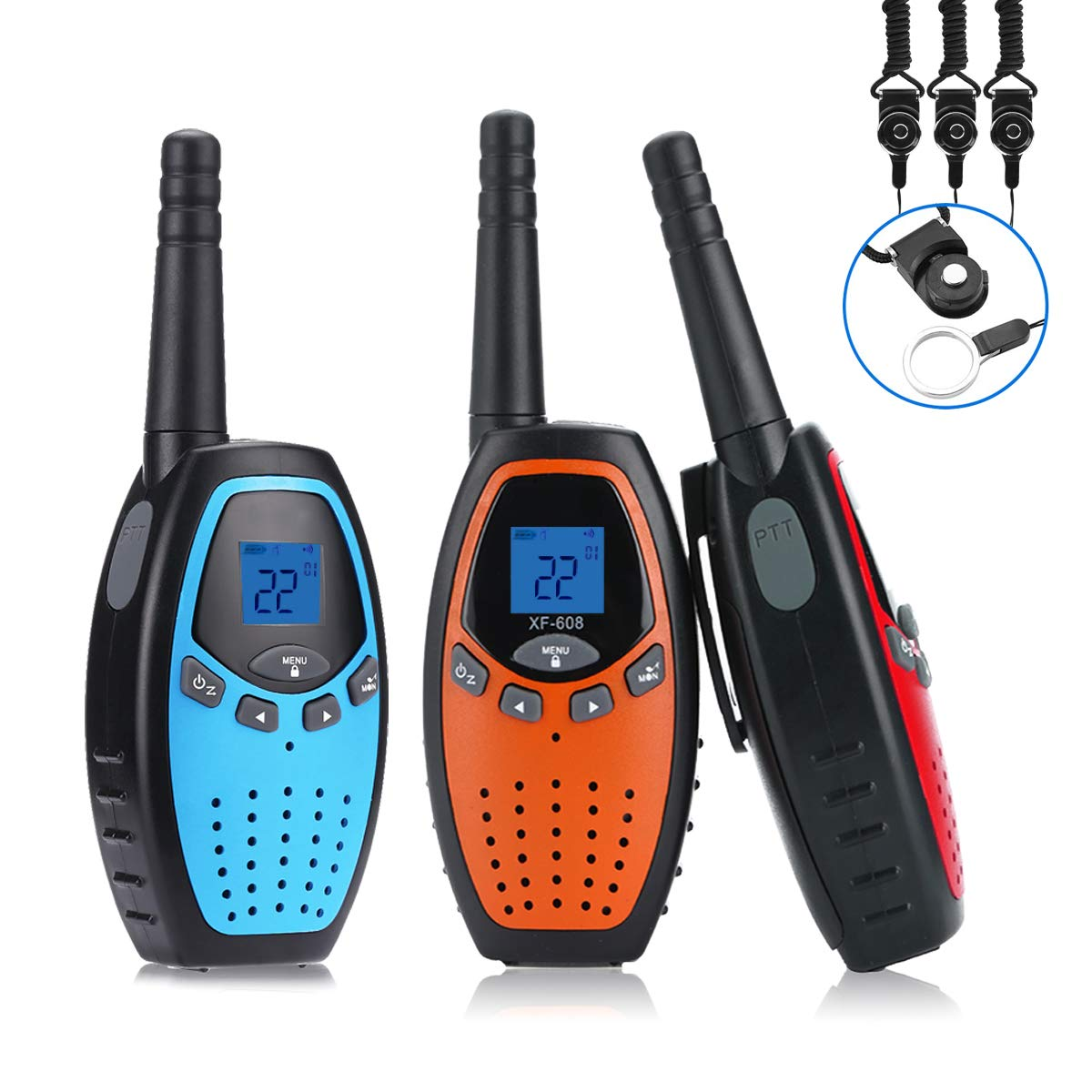Fistone Walkie Talkies for Kids, 3 Packs 22 Channels 2 Way Radio Long Range Interphone Toys for Boy and Girls Age 3 6 7 8 9 12 Up for Outdoor Adventures Camping Hiking