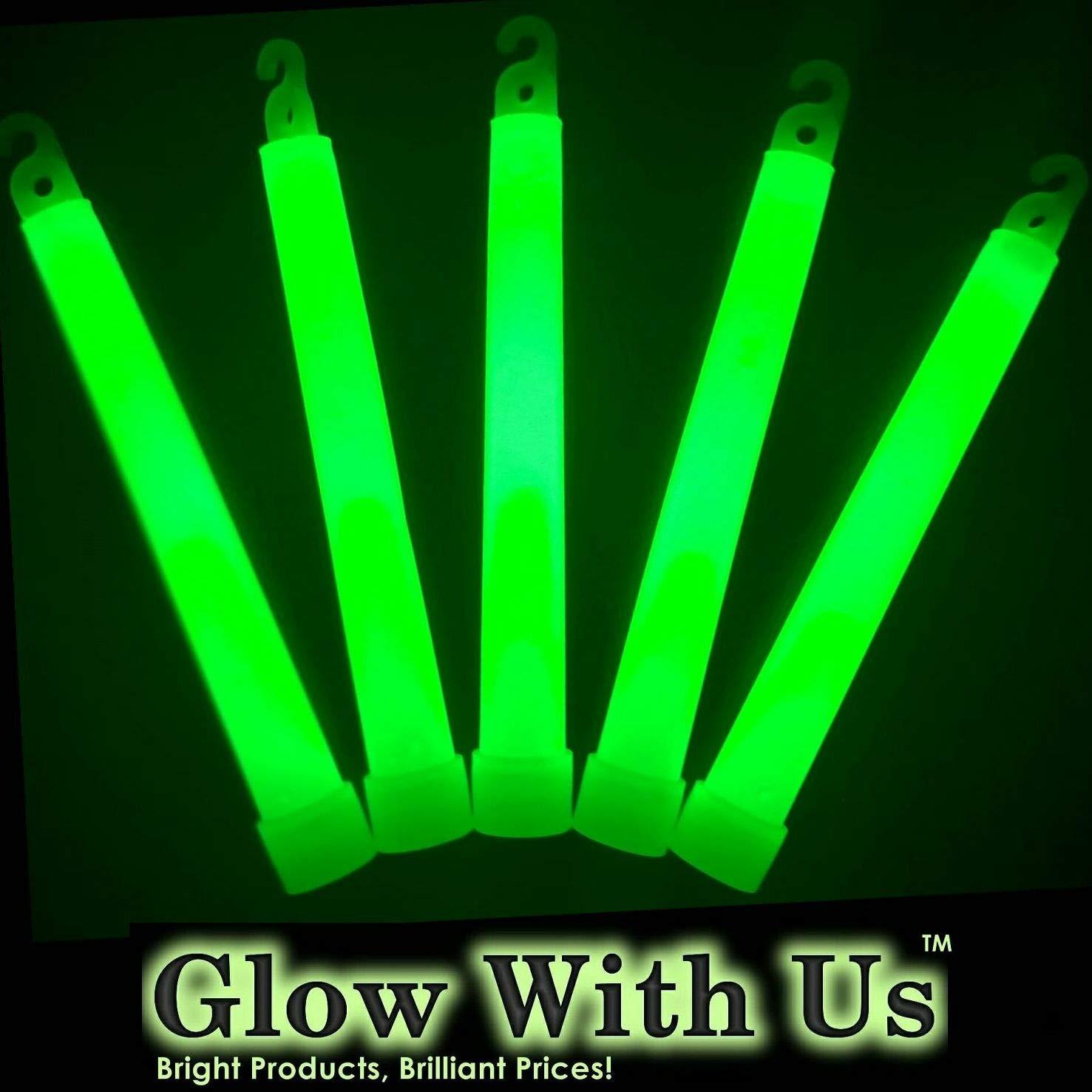 "Glow Sticks Bulk Wholesale, 100 6"" Industrial Grade Green Light Sticks, Bright Color, Glow 12-14 Hrs, Safety Glow Stick with 3-Year Shelf Life, GlowWithUs Brand"