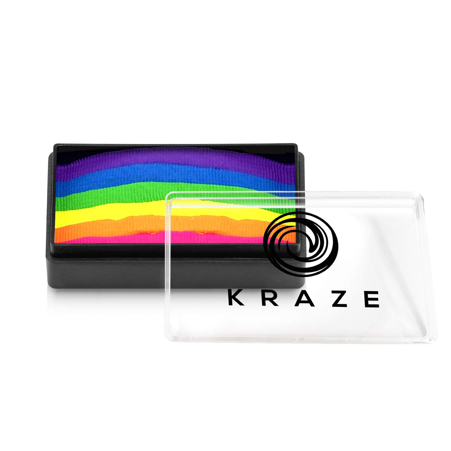 Kraze FX Dome Stroke - Bright Neon (25 gm), Water Activated, Professional UV Glow Blacklight Reactive Face and Body Painting Rainbow Cakes, Hypoallergenic, Safe, 1-Stroke Split Cake