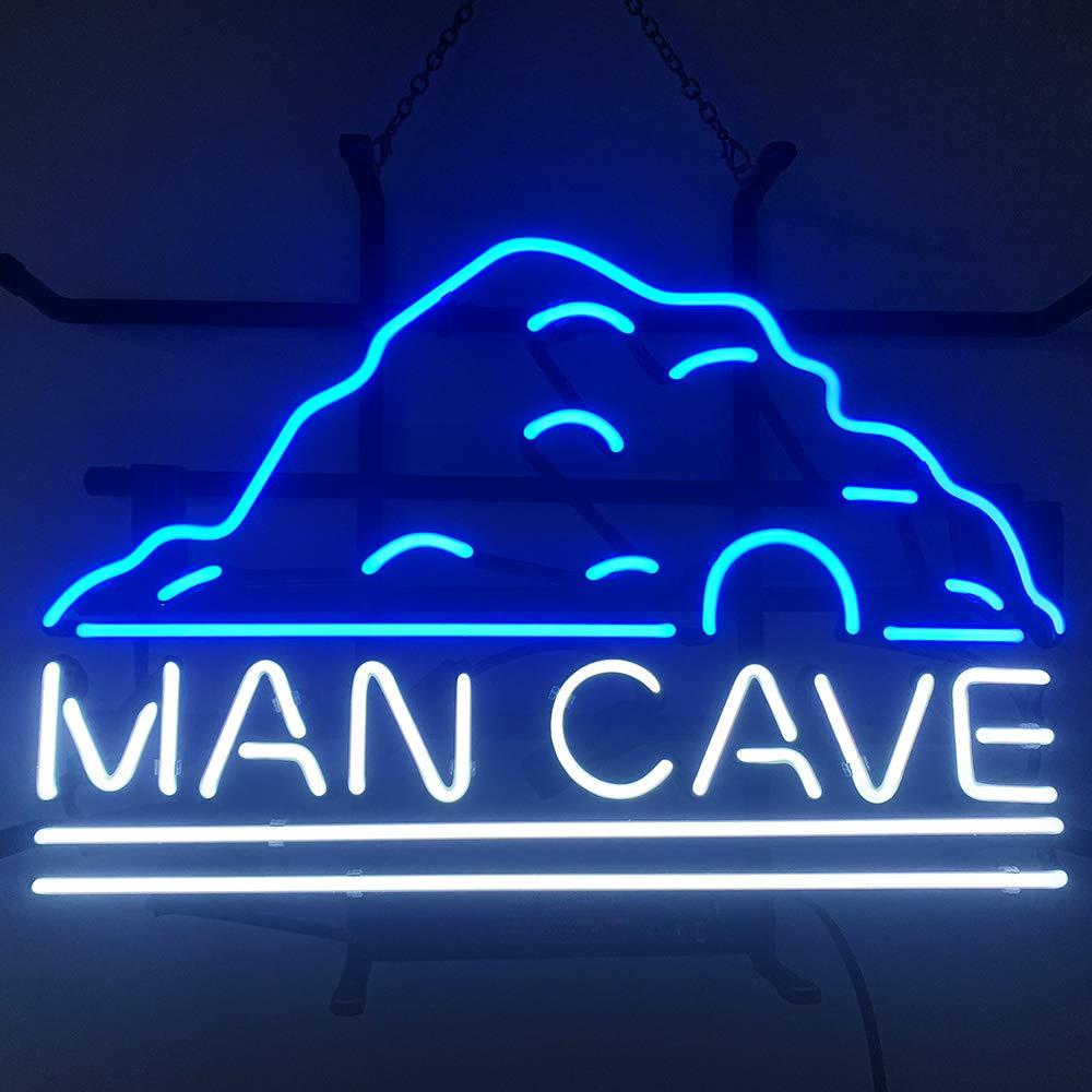 FINEON Man cave Real Glass Tube 17(w) insx13(h) ins Neon Sign Light for Beer Bar Pub Garage Room Bedroom Windows Gift Billboard