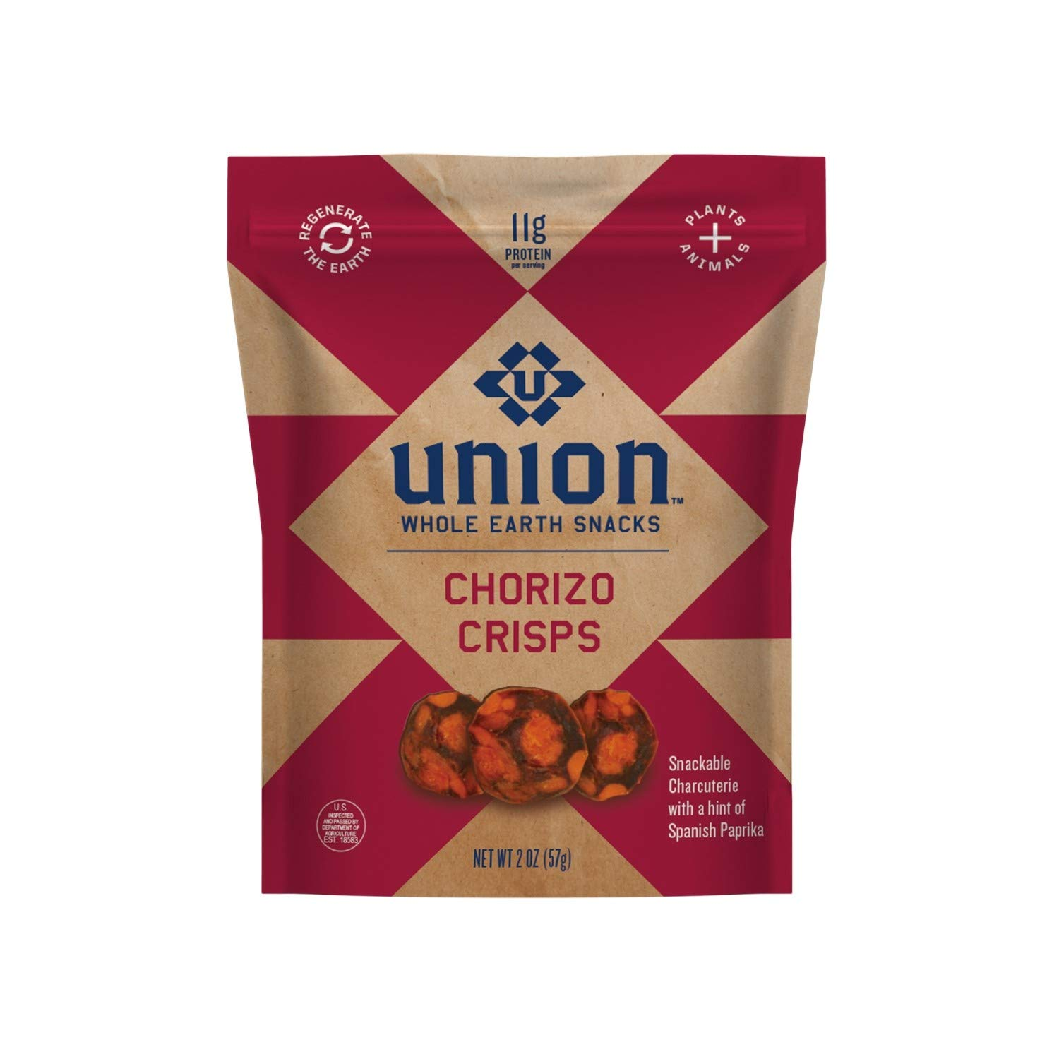 UNION Chorizo Charcuterie Crisps - Whole Earth Snacks - Healthy Food, Keto Snacks, High Protein & Gluten Free - Paleo and Keto Diet Friendly - Pack of Four