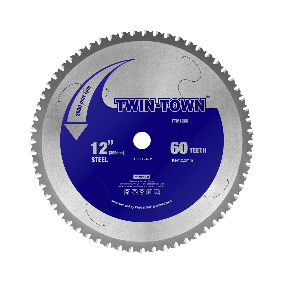 TWIN-TOWN 12-Inch 60 Teeth Steel and Ferrous Metal Saw Blade with 1-Inch Arbor