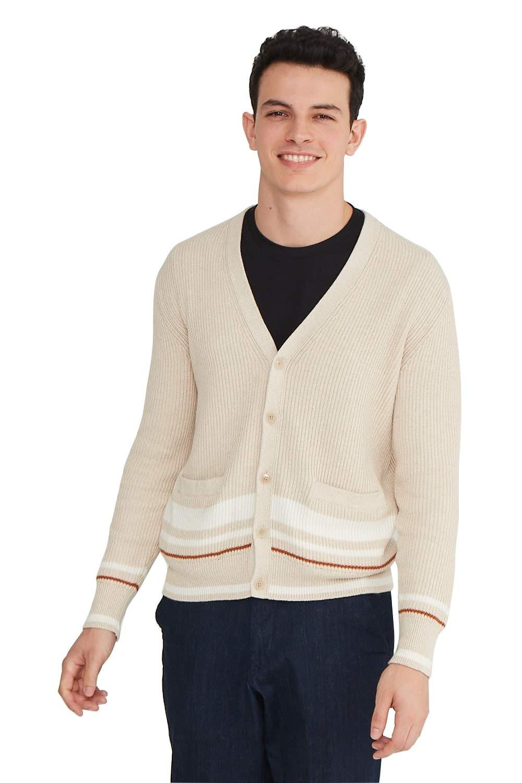 State Cashmere Men's Cotton Cashmere Color Block Cardigan