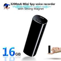 Mini Voice Activated Recorder, 16GB Super Long 800 Hours Recording Capacity, 365 Standby Battery, Audio Sound Recording Continuous Listening Device with Strong Magnetic (Black-52 16GB)