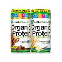 Purely Inspired Organic Protein Shake Powder, 100% Plant Based with Pea & Brown Rice Protein (Non-GMO, Gluten Free, Vegan Friendly), Chocolate/Vanilla Mixed Pack, 4lbs (2+2LBS)