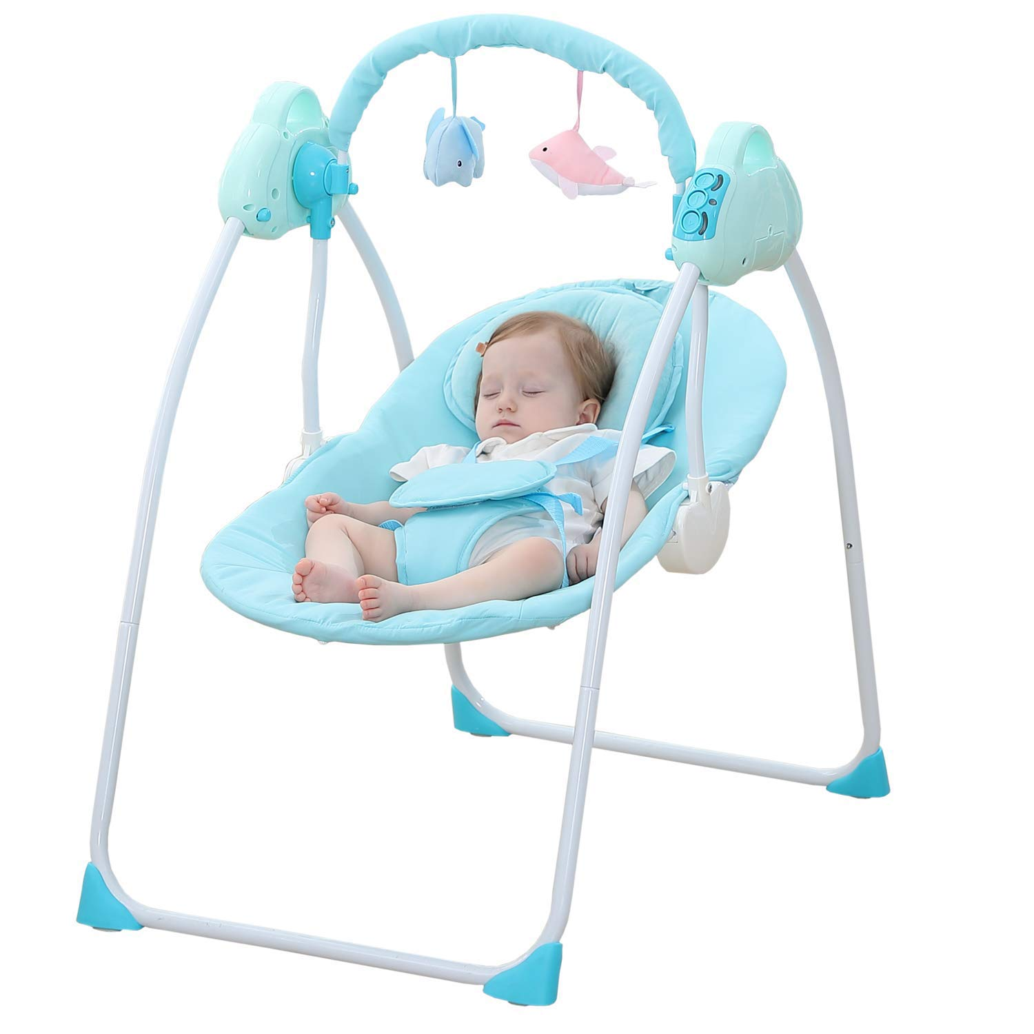 WBPINE Baby Swing Cradle, Automatic Portable Baby Rocker Swing Chair with Music (Blue) Without Remote Control