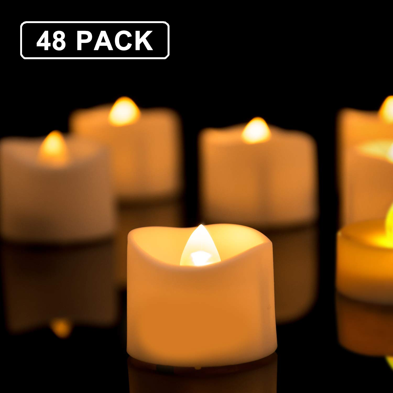 Homemory 48pcs Battery Tea Lights Bulk, Flameless Flickering LED Tea Lights, Long Lasting Battery Life, White Base Body, Brightness Upgrade, Batteries Included