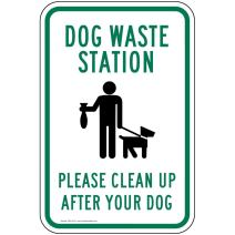 Dog Waste Station Please Clean Up After Your Dog Sign Reflective Sign, 18x12 in. with Center Holes on 80 mil Aluminum by ComplianceSigns