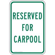 Reserved for Carpool Sign, White Reflective, 18x12 in. with Center Holes on 80 mil Aluminum for Parking Control by ComplianceSigns