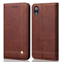 """MAYROUND Wallet Case for iPhone XR, Leather Folio Flip Case with Credit Card Holder Slot and Money Pouch with Stand Compatible with Apple iPhone XR 6.1"""" (Darkbrown)"""