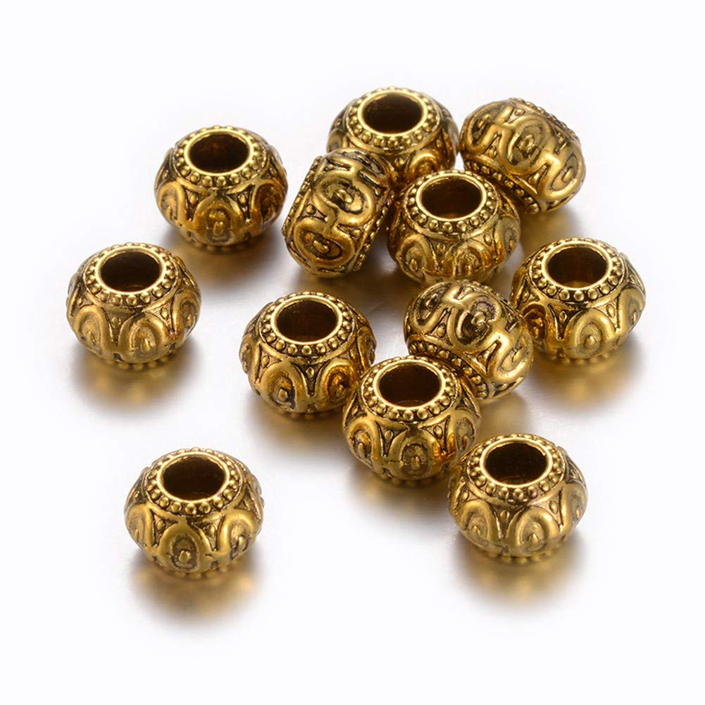 Kissitty 100pcs Antique Golden European Beads Rondelle Large Hole Spacer Beads 10x6.5mm Fit European Charm Bracelet Spacer for DIY Jewelry Making Cadmium Free & Nickel Free & Lead Free