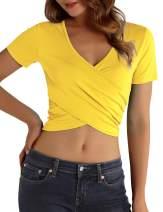 DJT Women's Deep V Neck Short Sleeve Cross Criss Wrap Shirts Crop Tops