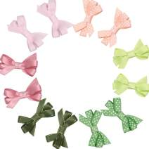 "12pcs 2"" Mini Hair Bows Hair Clip Fully Lined Morandi Colors Hair Accessories for Girls Infants and Toddlers"