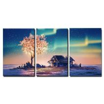 "wall26 - 3 Piece Canvas Wall Art - Illustration - Abandoned House and Fantasy Tree Lights Under Northern Lights - Modern Home Decor Stretched and Framed Ready to Hang - 16""x24""x3 Panels"