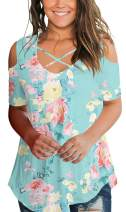 SMALNNIE Cold Shoulder Tops for Women Floral Print TShits S-2XL