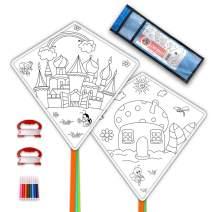 Mint's Colorful Life DIY Kites for Kids Kite Making Kit Bulk, Decorating Coloring Kite Party Pack,White Diamond Kite Kits (2 Pack Ready to Color-Castle House)