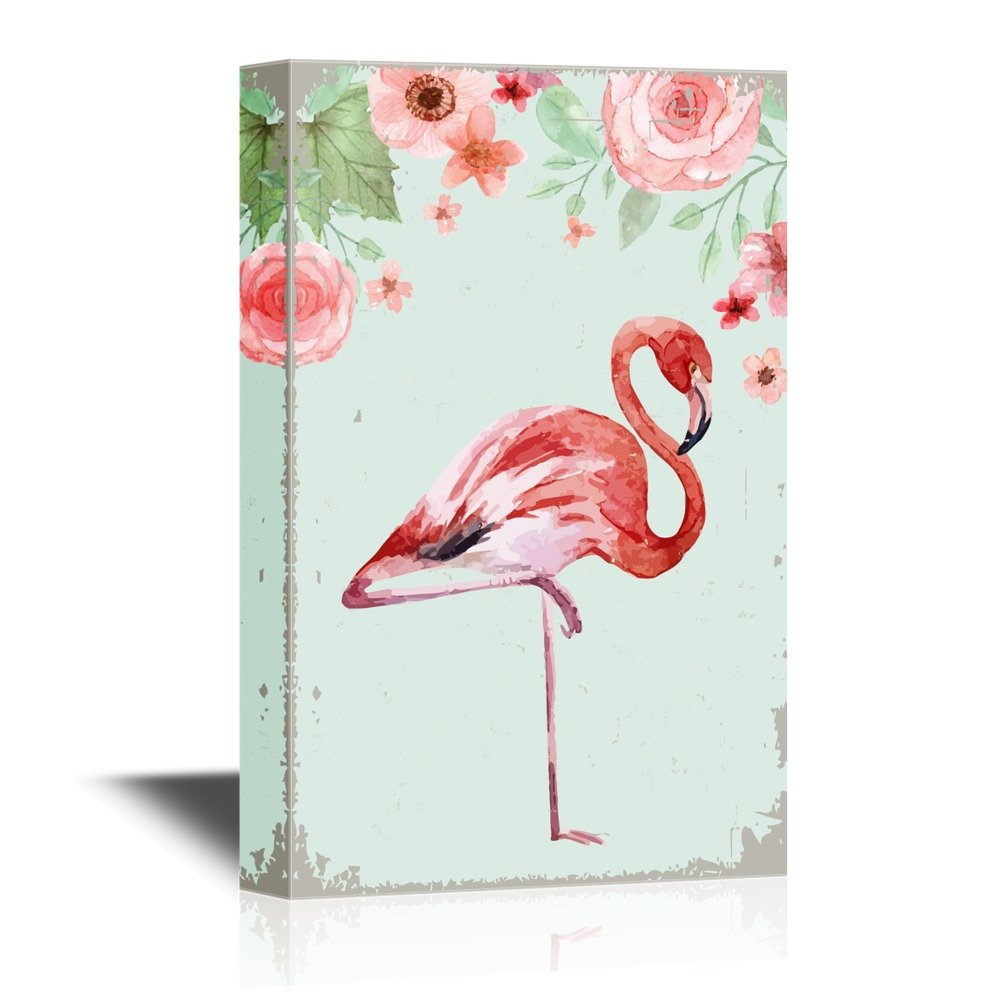 wall26 - Canvas Wall Art - Watercolor Flamingo Standing on One Leg with Flowers - Gallery Wrap Modern Home Decor | Ready to Hang - 16x24 inches