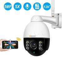 Jennov Wireless WiFi Security Camera IP PTZ Camera Outdoor Waterproof HD 2560x1920 Home CCTV Surveillance Pan/Tilt 5X Optical Zoom Two-Way Audio Motion Detection Siren Alarm with 64G Mirco SD Card