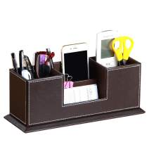 YAPISHI PU Leather Desk Organizer with 4 Compartments, Card/Pen/Pencil/Mobile Phone Stand Office Supplies Holder Desktop Remote Caddy, Home and College Dorm Decor Accessories Storage Box for Women