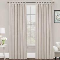 FantasDecor Light Filtering Natural Linen Curtains Casual Flax Curtain Drapes for Living Bedroom Tab Top Window Draperies Privacy Added, Set of 2 Panels, 52 by 84 Inches, Angora