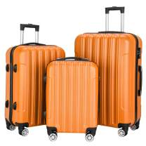 3-In-1 Luggage Sets with Spinner Wheels, Multifunctional Large Capacity Traveling Storage Suitcase Set with Luggage Locks (Orange)