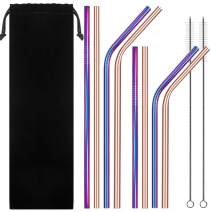 Stainless Steel Straws for 30oz 20oz Tumblers Cups Mugs, IHUIXINHE Set of 8 Reusable Metal Drinking Straw with Cleaning Brush for 30 20 Ounce Yeti Rambler Rtic Ozark Trail (Rose Gold, Colorful)