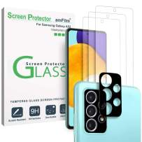 (3+2 Pack) amFilm 9H Tempered Glass Screen Protector and Camera Lens Protector for Samsung Galaxy A52 with Easy Installation Handles, HD Clear, Anti-Scratch Bubbles-Free