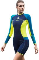 Micosuza Womens Shorty Wetsuit Long Sleeve 1.5MM Neoprene Back Zip Winter Swimwear Long Sleeve Diving Snorkeling Surfing Swimwear