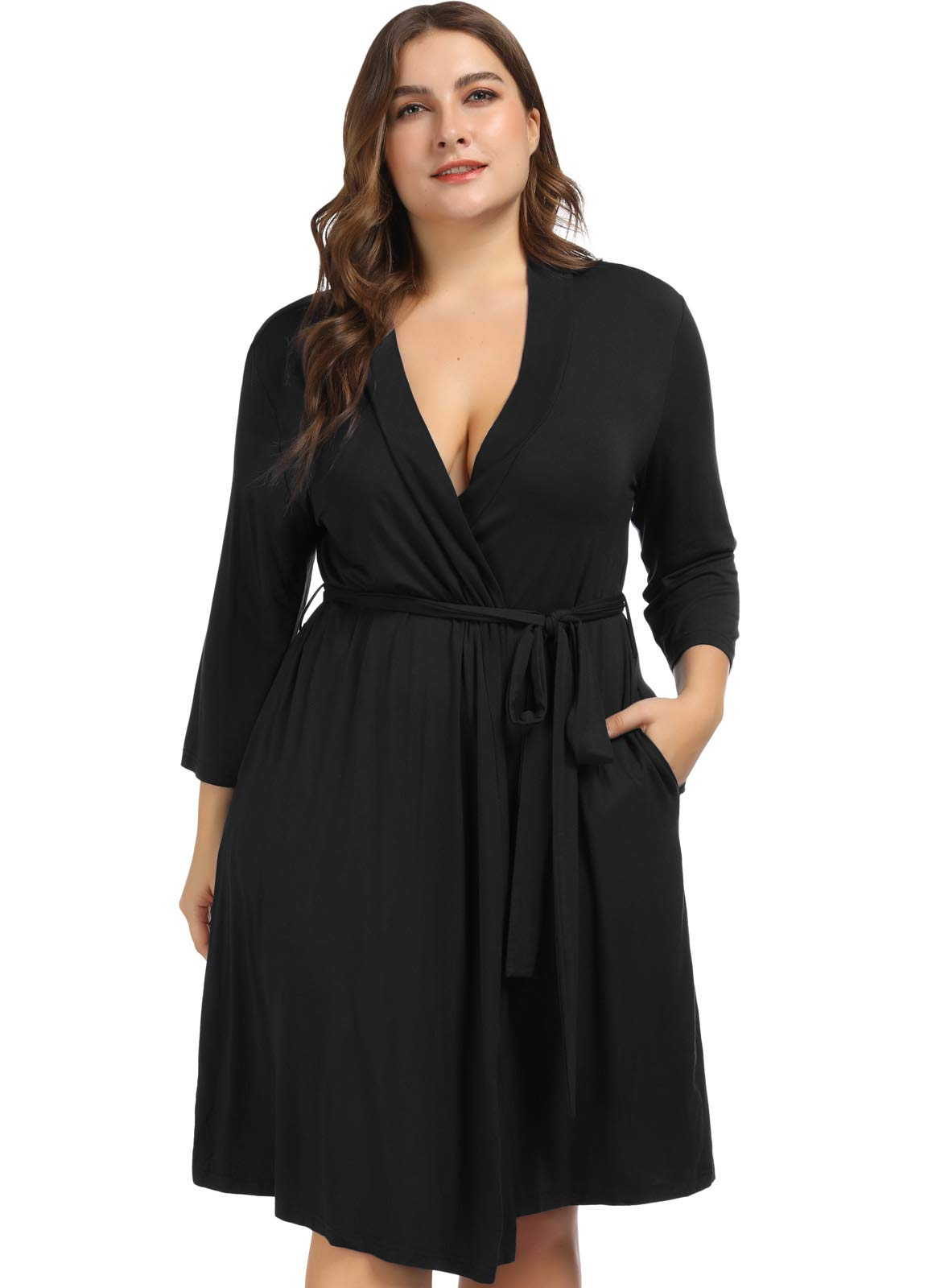 Women's Plus Size Cotton Short Kimono Robes Bathrobe Sleepwear Loungewear