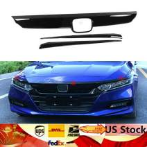 Front Grille, TBVECHI 3 Pcs ABS Glossy Black Lip Front Grille Cover Moulding Trim for Honda Accord 10th 2018