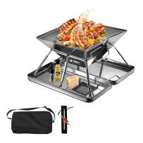 Folding Campfire Grill, Lieber Camping Fire Pit Portable Over Fire Camp Grill Outdoor Wood Stove Burner with Carrying Bag for Outdoor Open Flame Cooking- 304 Premium Stainless Steel