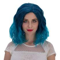 Alacos Fashion 35cm Short Curly Full Head Wig Heat Resistant Daily Dress Carnival Party Masquerade Anime Cosplay Wig +Wig Cap (Blue Ombre)