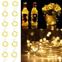 Sanhezhong Fairy Lights, 12 Pack Battery Operated Mini Lights, Battery Powered Fairy String Lights -6.5ft 20 LED Mini Firefly Lights for Wedding Party Festival Christmas (Warm White)
