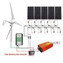ECO-WORTHY 900W Kit: 400W Wind Turbine Generator with Controller + 5pcs 100W Mono Solar Panel + 1000W Sine Wave Inverter