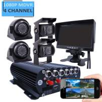 JOINLGO 4 Channel GPS WiFi 1080P AHD HDD Mobile Vehicle Car DVR MDVR Video Recorder Kit Real-time Remote View on PC Phone with 4 1080P Side Rear View IR Car Cameras 7 inches Car Monitor for Truck Bus