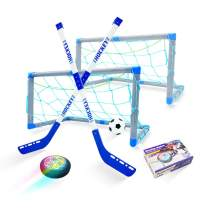 DYY Hover Hockey Set, RGB Led Light Hockey Gifts for Boys, Indoor Outdoor Hockey Set for 3 4 5 6 7 8 9 10 11 12-Year-Old Kids, USB Rechargeable and Battery Hockey Floating Air Soccer for Family Games