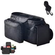 Baby Stroller Organizer Bag with Shoulder Strap Universal Fit for All Strollers Multiple Pockets Zipper and Phone Pocket with Insulated Cup Holders Stroller Accessories Easy Installation