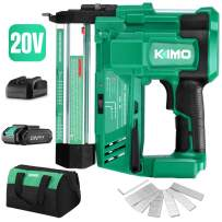 KIMO 20V 18 Gauge Cordless Brad Nailer/Stapler Kit, 2 in 1 Cordless Nail/Staple Gun w/Lithium-Ion Battery&Fast Charger, 18GA Nails/Staples, Single or Contact Firing for Home Improvement &Woodworking