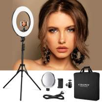 """CRAPHY 18"""" Bi-Colour LED Ring Light, 48W Dimmable Ringlights, 3200-5800K Circle Lighting with Stand, Hot Shoe, Makeup Mirror, for Photography, Video Shooting"""