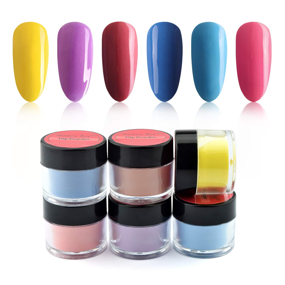 6 Box/Set Fine Dipping Powder Bright Yellow Purple Blue Rose Pink Colors No Need Lamp Cure Dip Powder Nails,Like Gel Polish Effect, Even & Smooth Finishing (112-04-65-09-79-70-10g/box)