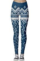 GUOLEZEEV Women Printed Christmas Leggings Ankle Stretchy Skinny Pants High Waisted Tights