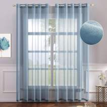 MIULEE 2 Panels Blue Semi Sheer Window Curtains Elegant Grommet Top Window Voile Panels/Drapes/Treatment Linen Textured Panels for Bedroom Living Room (54X96 Inches)